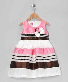 Take a look at this Pink Stripe Bow Dress - Toddler & Girls by Lele for Kids on #zulily today!
