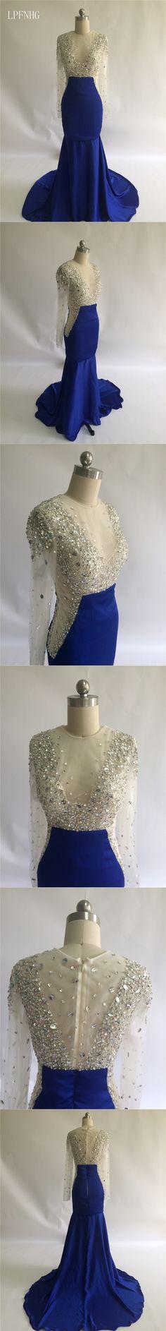 Vestido De Festa Mermaid Long Prom Dresses 2017 O-Neck Long Sleeve Zipper Sweep Train Satin and Tulle Crystal Sexy Evening Dress