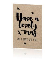 Handlettering enkele kerstkaart kraft - lovely x-mas Christmas Quotes, Christmas Cards, Brush Lettering, Happy New, Journaling, Bullet Journal, Inspiration, Christmas E Cards, Biblical Inspiration