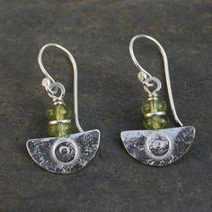 Ulu  , handmade silver and Peridot  earrings .£32