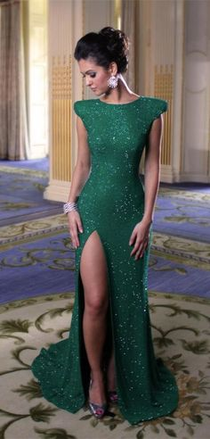 2016 Stunning Cap Sleeve Green Sequins Front Split WOmen's Evening Party Gown from www.27dress.com