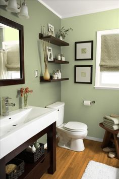 like shelf idea... and little chair by toilet idea for towels