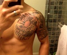 Grey Ink Wave Sun Tattoo On Chest wallpaper