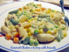 Creamed Chicken a la King...delicious served over rice, biscuits or noodles!  #recipes #slowcooker #chickenrecipes