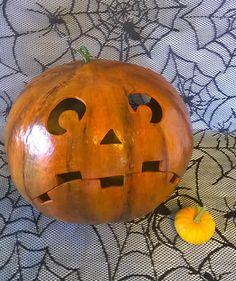 Pumpkin Gourd Halloween Jack O Lantern Hand by lindafrenchgallery