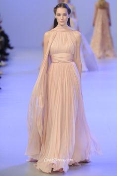 sleeveless long pleated chiffon evening gown