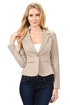 HOTOUCH Womens Woven Structured Cape Blazer Suit Jacket w Pockets Sand S -- Details can be found by clicking on the image.
