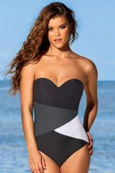 Leonisa Strapless Geometric Tummy Slimming One Piece Swimsuit 190622 by sophia