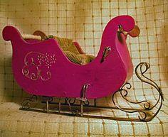 Make a Printable Miniature Christmas Sleigh: Linda York's Wooden Santa Sleigh