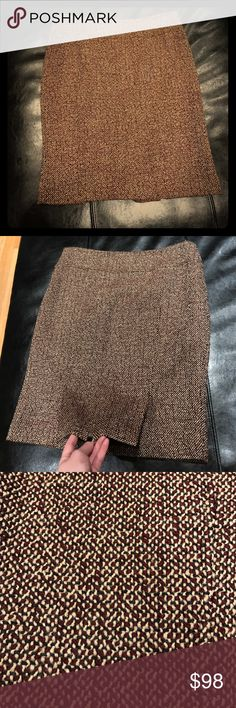 Elise Tahari Tweed Skirt This Elise Tahari burgundy, camel and black tweed skirt is ultra chic and certain to make a statement. Two short slots at the back bottom. Open to reasonable offers presented in offers! Elie Tahari Skirts Pencil