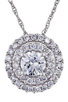 14K White Gold Pave Double Halo IGL Certified Round Diamond Pendant Necklace - 1.00 ctw