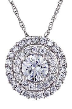 14K White Gold Pave Double Halo IGL Certified Round Diamond Pendant Necklace - 1.00 ctw