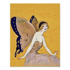 This vintage image is a beautiful blond curly haired fairy with elegant butterfly wings. See my store Art by MAR for matching products with this design.