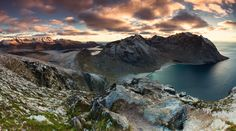 Ryten, Lofoten, Norway by Dion van den Boom  Panoramic view of the landscape of the Lofoten Islands in Norway, seen from Ryten. In November 2016 I went there with a good friend and fellow photographer and we were presented with the best weather the arctic had to offer us that week.  https://f11news.com/07/05/2017/ryten-lofoten-norway-by-dion-van-den-boom