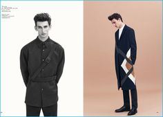 Model Thibaud Charon dons fall tailoring from Jil Sander and MSGM.