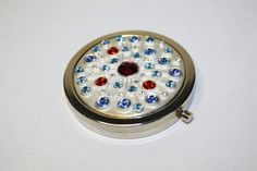 Vintage Compact Blue Red Rhinestone Mirror Purse by patwatty, $10.00