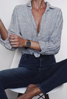 stripe shirts + high waisted denim jeans | #ootd women's fashion + outfits