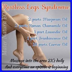 Restless legs restorative sleep cream 10 drops lemon eo 10 drops lavender eo 10 drops frankincense eo 1/4 cup whipped coconut oil  Add to bottom of feet