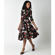 Unique Vintage 1940s Style Black Floral Half Sleeved Hudson Shirt... (315 BRL) ❤ liked on Polyvore featuring dresses, a-line dresses, floral print dress, floral shirt dress, 3 4 sleeve a line dress and vintage a line dresses