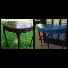 Distressed table, teal distressed table, DIY distressed table, distressed side table, cheap table refinishing - Table painted teal, distressed edges with sanding block, dry-brushed copper over teal and then sanded a little more. Repeated steps until I was satisfied with look. Free table + $2.00 for paint sample color from hardware store + can of copper that I had = about $2.50 for entire project! (Not counting time and gas)
