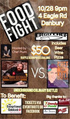Ergo Chef and Chef Plum present Food Fight Culinary Battle - Octember to Dismember. A Halloween themed event to benefit *Your Exceptional Partner/Sidekick.