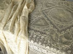 PAIR of ELABORATE Antique French NORMANDY LACE COVERLETS Bedspreads Ecru 70x96
