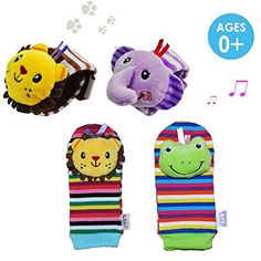 Baby Rattles - Daisy 4 x Animal Infant Baby Kids Wrist Rattle  Foot Finder Set Developmental Soft Toys * For more information, visit image link.