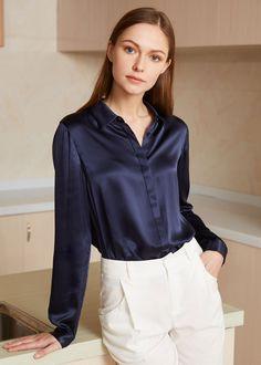 22MM Basic Consealed Placket Silk Shirts