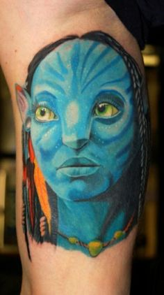 From Indiana Jones to Edward Scissorhands all of these tattoos portray iconic characters from pop culture. Lamb Tattoo, I Tattoo, Cool Tattoos, Tatoos, James Cameron, Avatar Tattoo, Tattoo Zeichnungen, Inked Magazine, Iconic Characters