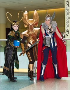 OMG...they are all wearing pants..it's amazing!  (Thank you, you look amazing!) Loki, Heimdall by À Lanna Mode, Thor | March Toronto Comic Con 2014