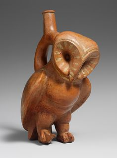 Owl Stirrup Spout Bottle [Peru, Moche]