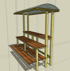 Build a timber bonsai bench with shade canopy like this
