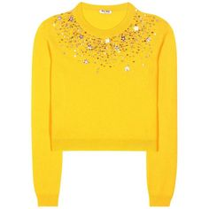 Miu Miu Embellished Cashmere Sweater ($900) ❤ liked on Polyvore featuring tops, sweaters, shirts, blouses, jumpers, yellow, yellow top, embellished sweater, yellow shirt and cashmere shirt