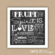 Fruit of the Spirit Scripture Subway Art PRINTABLE.  8x10, 11x14, or 12x12 Digital File.  Wall Art.  Galatians 5:22-23. $8.00