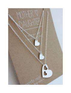 Mother Daughter necklace set features double hearts silhouette pendant necklace for mom and two heart charm necklaces for daughters. These handmade