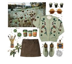 """""""Green swamp"""" by lilyjey ❤ liked on Polyvore featuring Mountain Khakis, Dr. Martens, Retrò, Jayson Home and vintage"""