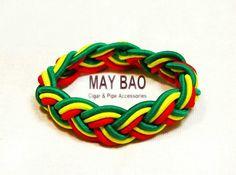 Reggae Rasta bracelet Yellow green red Africa colors Leather Band