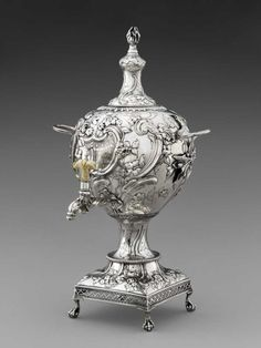 "Made by David Whyte & William Holmes,"" Tea Urn,"" 1764, sterling silver and ivory. The Rienzi Collection, gift of Jackson Hicks in honor of the Masterson and Reckling families."