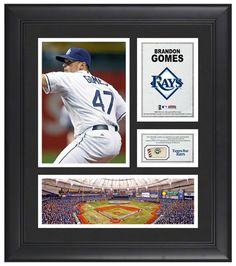 Brandon Gomes Tampa Bay Rays Framed 15x17 Multi-Photo Collage with Game Used Baseball