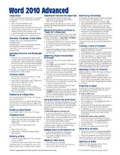 Microsoft Word 2010 Advanced Quick Reference Guide (Cheat Sheet of Instructions, Tips & Shortcuts - Laminated Card) by Beezix Inc.. $3.60. Publication: August 9, 2010. Author: Beezix Inc.. Publisher: Beezix Inc. (August 9, 2010)