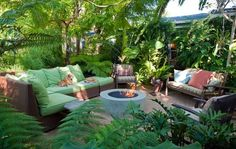 Tropical Fire Pit  Tropical Landscaping  GreenTree Landscaping  Los Angeles, CA