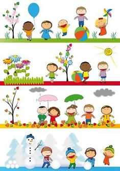 Kids in four season Vinyl Wall Mural - Seasons Seasons Activities, Preschool Activities, Preschool Printables, Weather For Kids, School Murals, School Painting, Kids Vector, Magazines For Kids, Kindergarten Classroom