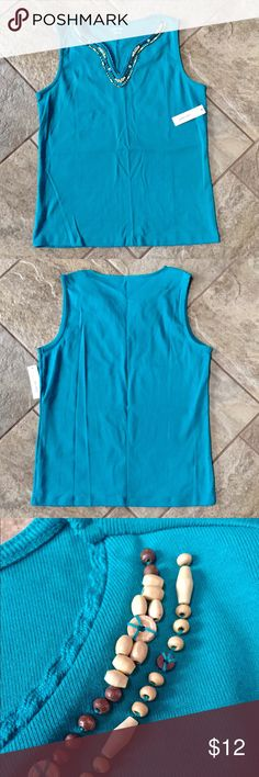 ST. JOHN'S BAY Beaded Tank Top Teal color with wooden bead detail around neckline. St. John's Bay Tops Tank Tops