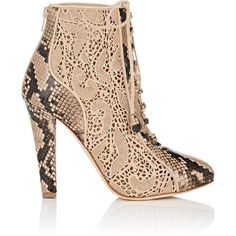 Chloe Gosselin Women's Nymphea Python & Suede Ankle Boots ($1,125) ❤ liked on Polyvore featuring shoes, boots, ankle booties, ankle boots, lace-up booties, laced up boots, lace-up ankle booties, suede bootie and high heel boots