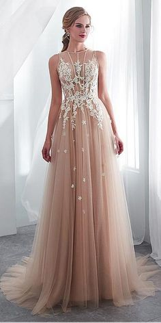 In Stock Delicate Tulle Jewel Neckline See-through Bodice A-line Wedding Dress With Lace Appliques Wedding Suits For Bride, Wedding Dress Types, Perfect Wedding Dress, Wedding Gowns, After Five Dresses, Goddess Dress, Fantasy Dress, Dress Cuts, Sweet Dress