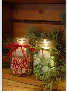 Mason Jars filled with festive peppermint candies.  Votive candles can easily be lit on top of candy.