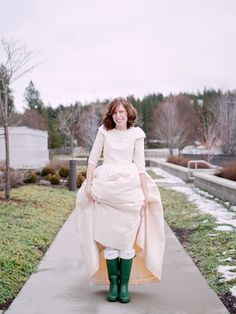 A Winter Spokane Wedding by Samantha Cabrera Photography - I believe she is wearing a t-shirt under her dress!