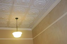 If a tin ceiling is out of your reach, try textured vinyl ceiling tiles. Drop Ceiling Tiles, Home Ceiling, Ceiling Lights, Ceiling Art, Tile Crafts, Decor Crafts, Home Decor, Border Tiles, Ceiling Design