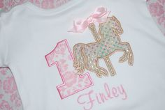 Carousel Horse 1st Birthday Girls Ruffle Shirt by lollipopprincess, $27.00