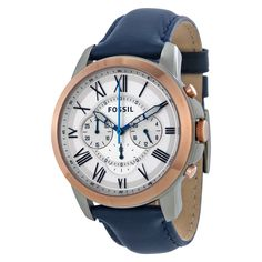 Fossil Grant Chronograph White Dial Dark Blue Leather Men's Watch FS4930